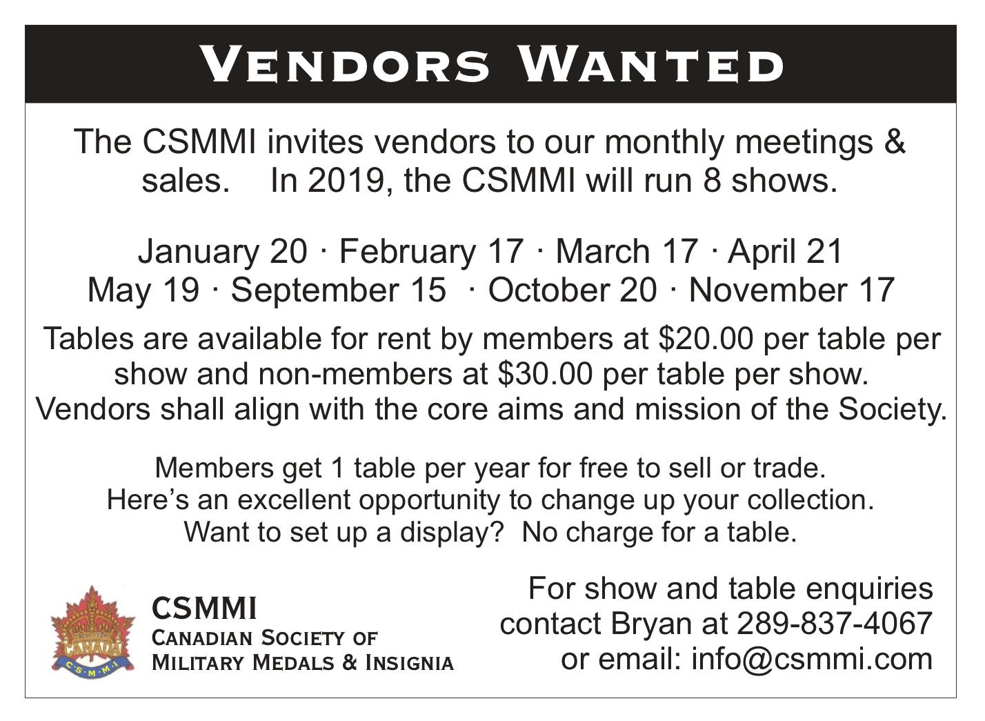 CSMMI – Serving collectors, vendors and researchers in